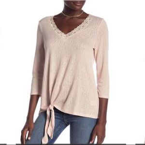 New Bobeau lace trim tan long sleeve top P…